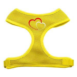 Double Heart Design Soft Mesh Harnesses Yellow Medium